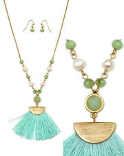 Scratch Metal Tassel Pendant Freshwater Pearls Necklace Earrings Set Mint Green