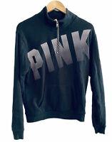PINK Victoria's Secret 1/4 Zip Pullover Sweatshirt Graphic Logo Size XS Black