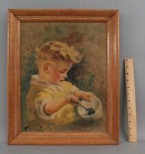 Vintage Signed American Illustration Portrait Oil Painting Young Boy & Soup Bowl