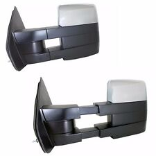 Chrome Towing Power Heated Pair Tow Mirrors Signal puddle For 07-14 Ford F150