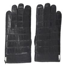 NWT ZILLI  black Leather 100% crocodile  Lined agneau Mens Gloves 9.5  L zgu14