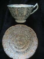 COLLINGWOODS FINE ENGLISH BONE CHINA PALE GREEN GOLD GILT CUP & SAUCER CHINTZ