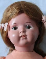 """Antique celluloid head German doll, 17"""", great orig. costume, hair, vgc"""