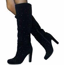 Echt Velours Leder SeXy Party Stiefel High Heels Boots Schwarz Kristall 38 Stein