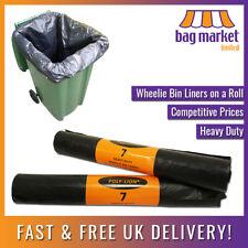 More details for heavy duty black wheelie bin liners/bags   7 per roll   rubbish/refuse/sacks