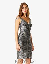 AFTERSHOCK LONDON Black Silver Bandage Bodycon THEOPHILA Dress L 12 BNWT