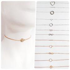 Cadena geométrica Doble O Anillo Triángulo Bar Corazón Infinito Gargantilla Collar UK
