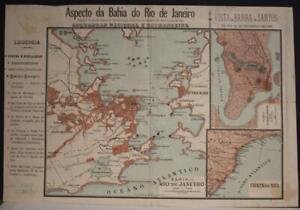 RIO DE JANEIRO BRAIZL 1894 ANONYMOUS UNUSUAL ANTIQUE ORIGINAL LITHOGRAPHIC MAP