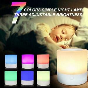 LED Dimmable Touch Night Light Bedside Table Mood Light USB Rechargeable Lamp
