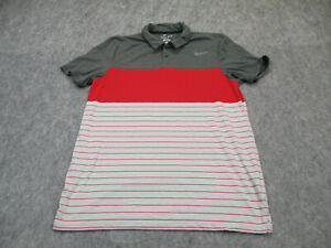 Nike Polo Shirt Mens Large Red Gray Dri Fit Active Golf Golfer Adult Outdoor