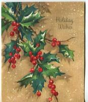 VINTAGE CHRISTMAS GREEN HOLLY LEAVES RED BERRIES NATURE SNOWFLAKES GREETING CARD