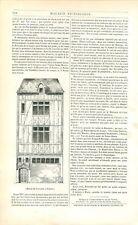 Maison à Colombage de Jean Baptiste Jouvenet dit le Grand à Rouen GRAVURE 1842