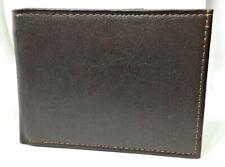 Mens Brown Wallet with Orange Stitch EQ1 (6041)