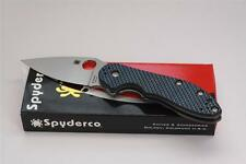 Spyderco DOMINO Flipper CTS XHP Knife Blue Carbon Fiber Handle C172CFBLTIP