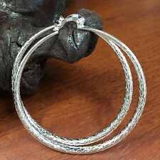 BIG HOOPS .925 STERLING SILVER 65MM LIGHT EARRINGS SNAP CLOSURE 2 1/2 INCHES