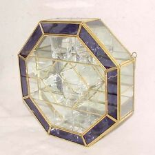 Glass & Brass Octagon CURIO CABINET DISPLAY CASE Purple Stained Glass Trim