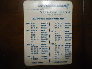 Original 1957 Detroit Tigers Baseball Schedule from National Bank of Detroit