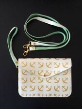 "Top It Off Women's Purse Bag Wristlet Clutch 7.5""W X 5.5""H White w/Gold Anchors"
