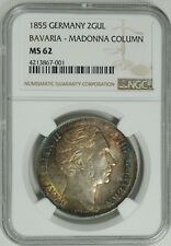 1855 GERMANY 2 GULDEN MADONNA COLUMN NGC MS62 BU  NICE TONING