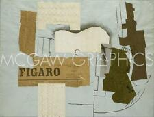 ART Bottle of Vieux Marc Glass Guitar and Newspaper 1913 Pablo Picasso 18x24