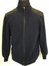 Roundtree & Yorke Full Zip Sweater Jacket Blue Elbow Patches Men Extra Large XL
