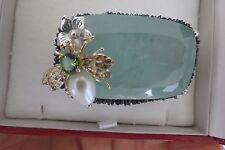 Huge 190 carat Aquamarine, peridot, pearl diamond 14k gold bee fly brooch pin
