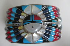Native American Sterling Multi Stone Inlay Inlaid Sun Face Cuff Bracelet Indian