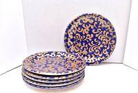 "6 Varm Ceramica F. Giorgi Pattern VAC29 Gold Scrolls Cobalt Blue 9"" Salad Plates"