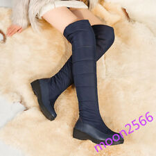 Ladies Knee High Boots Flats Down Quilted Pull On Winter Warm Snow Shoes Plus SZ