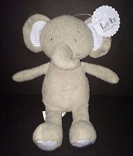 Marks Spencer Gray Elephant LOVE on foot plush baby toy blue striped ears M&S