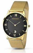 Sekonda 1064 Gents Gold Coloured Mesh Bracelet and Case Analogue Watch Date