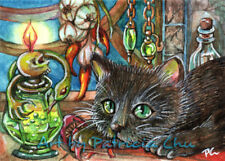 "ACEO LE Art Card Print 2.5x3.5 "" Alchemist's Cat ""  Fantasy Art by Patricia"