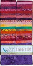 Island Batik Blushing Blooms Purple Orange Yellow Batiks Jelly Roll Strips Pack