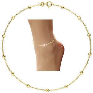 Kugel Fußkettchen 333 echt Gold Gelbgold Fußkette 25 cm Kugelkette 8 Karat neu