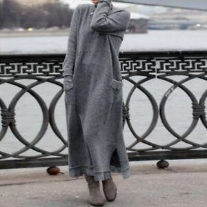 ZANZEA UK Women Casual Loose Long Sleeve Lace Sweatshirt Kaftan Abaya Maxi Dress
