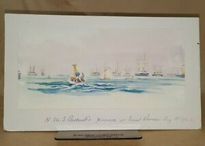 HMS Crescent (Pinnace) at 1902 Naval Review Unsigned Marine Watercolour Painting