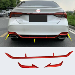 3pcs ABS Red Rear Bumper Lip Protector Cover Trim FitFor Toyota Avalon 2019-2021