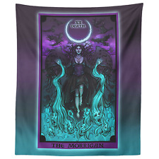The Morrigan Death Tarot Card Tapestry Pastel Goth Pagan Witch Home Decor Art