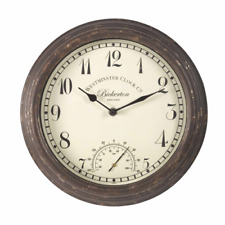 Smart Garden Outside In Designs Bickerton Wall Clock and Thermometer 12 Inch