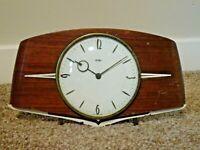 Vintage Mid 20th Century Oak Panel Metamec Mantel Clock with Metal Finials -Time