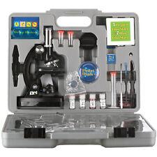 AmScope 52pc 120X-1200X Starter Compound Microscope Science Kit for Kids (Black)