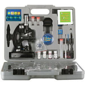 AmScope 52pc 120X-1200X Starter Compound Microscope Science Kit for Kids