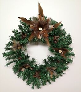 Hand Decorated Christmas Wreath Star Pheasant Feathers Cartridges Pine Cones