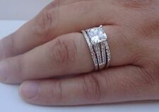 925 STERLING SILVER LADIES 3 PC WEDDING RING & BAND SET W/3 cts DIAMOND SZ 5-9