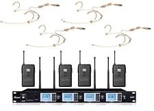 4X100 Ch UHF Wireless Beige Headset Microphone System for shure Wireless
