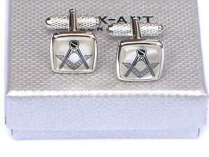 """MASONIC CUFF LINKS -13mm Square """"MOTHER OF PEARL"""" Metal Style in a GIFT BOX -NEW"""