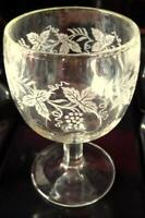 Bartlett Collins Thumbprint Goblets Grapevine Decorated Clear Glass gold Ring