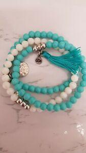 Olia Turquoise  and white Stone Healing Beaded Bracelet Set Of 3