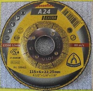 "Klingspor Kronenflex A24 Extra Grinding Discs 115mm x 6mm x 22.23mm /4 1/2"""
