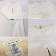 Diane Von Furstenberg Pants Sz 0 Ivory Linen Viscose Lycra Worn Once YGI RE776